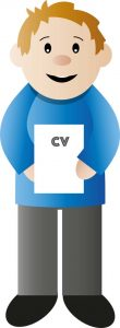 The right people - HR character with CV